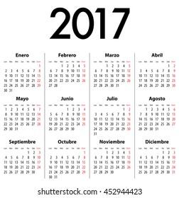 Spanish Calendar for 2017. Mondays first. Calendar grid for print, web design, presentation, business or office uses. Vector illustration