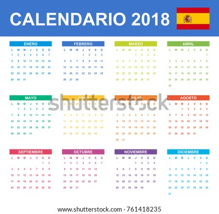 spanish calendar for 2018 scheduler agenda or diary template week starts on monday
