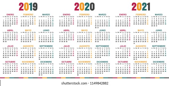 Calendario 2020 Vector Gratis.Calendario Oficina Stock Vectors Images Vector Art