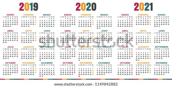 Image vectorielle de stock de Calendrier espagnol 2019 2021