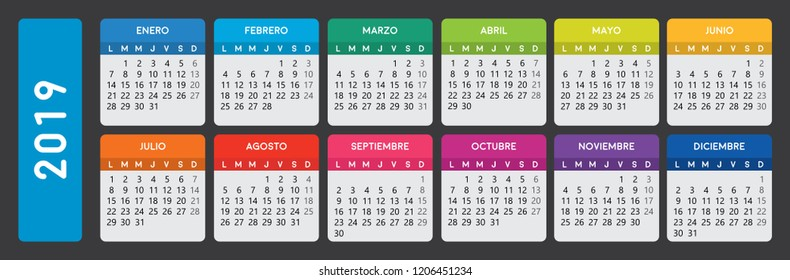 Calendario Julio 2019 Vector.Spanish Calendar 2019 Images Stock Photos Vectors