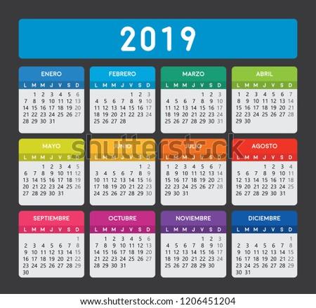 Spanish Calendar 2019 Editable Calendar Template Stock Vector