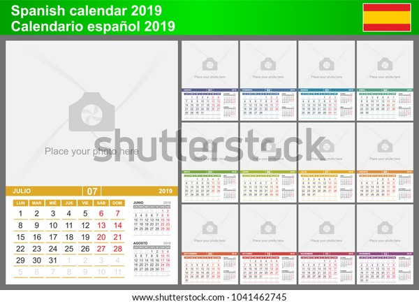 Calendario Julio 2019 Vector.Spanish Calendar 2019 Vector Template Place Stock Vector