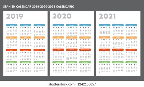 Spanish calendar 2019-2020-2021 vector template text is outline