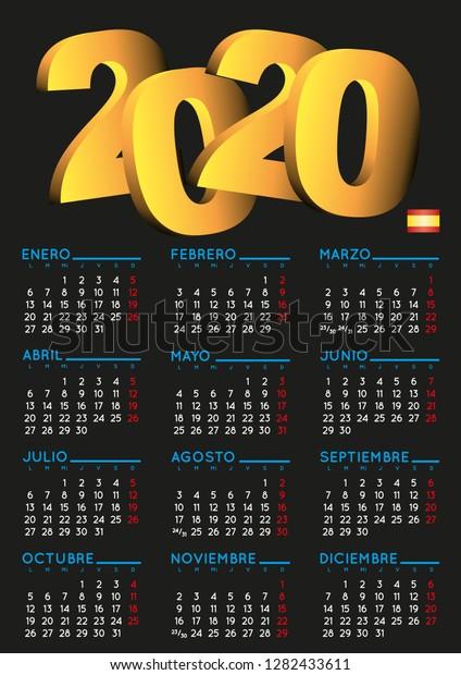 Calendario 2020 Con Foto Gratis.Spanish Calendar 2020 Year 2020 Calendar Stock Vector