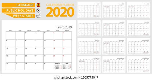 Spanish calendar planner for 2020. Spanish language, week starts from Monday. Vector template.