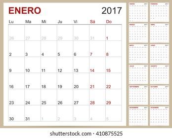 Spanish calendar, Spanish planning calendar template 2017, set of 12 months January - December, week starts on Monday, vector illustration.