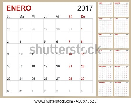 spanish calendar spanish planning calendar template 2017 set of 12 months january december