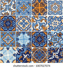Spanish ceramic seamless pattern in blue and orange colors. Mosaic patchwork ornaments for design and fashion