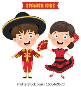 Spanish Children Wearing Traditional Clothes
