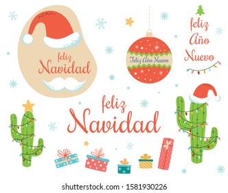 Spanish Christmas clip art collection Hand drawn set Text Merry Christmas Happy New Year decorated Christmas light cactus, Santa hat, mustache ball gift box snowflakes. New year Vector illustration.