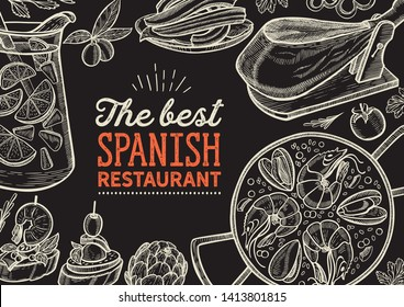 Spanish cuisine illustrations - tapas, paella, sangria, jamon, churros, calcots, turron for restaurant. Vector hand drawn poster for catalan cafe and bar. Design with lettering and doodle graphic.
