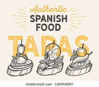 Spanish cuisine illustrations - tapas for restaurant. Vector hand drawn poster for catalan cafe and bar. Design with lettering and doodle vintage graphic.