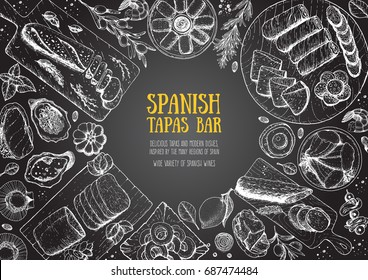 Spanish cuisine top view frame. A set of spanish dishes with mojama, hamon, tapas, croquetas . Food menu design template. Vintage hand drawn sketch vector illustration. Engraved image