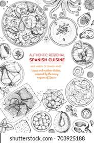Spanish cuisine top view frame. A set of spanish dishes with paella, gaspacho, patatas bravas, hamon, tapas . Food menu design template. Vintage hand drawn sketch vector illustration. Engraved image