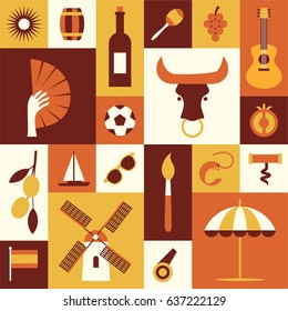 Spanish cultural symbols. Set of flat icons. Travel concept. Traditional cuisine and clothes, nature and landmarks of Spain. Isolated elements on color background. Vector illustration for Your design.