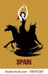 Spanish dancer, bull and horse. Vector Illustration