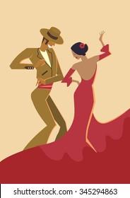 Spanish Dancers - vector illustration