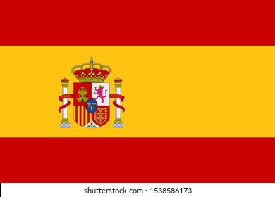 Spanish Flag with coat of arms with crowns, a lion and a castle on the background of a shield. Flat vector emblem.