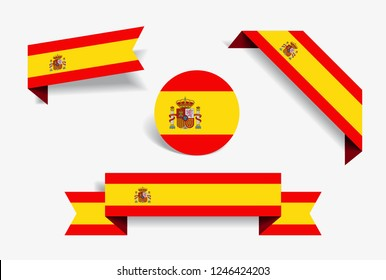 Spanish flag stickers and labels set. Vector illustration.