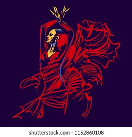 Spanish flamenco dancer. Woman in red national dress.  vector illustration for dance music poster