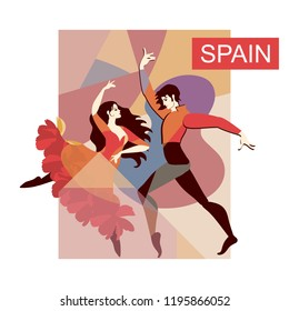 Spanish flamenco dancers on stage. Polygonal background. Decorative card in vector.