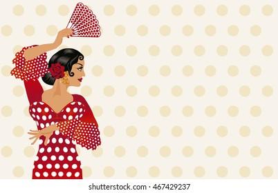 Spanish flamenco girl invitation card vector illustration