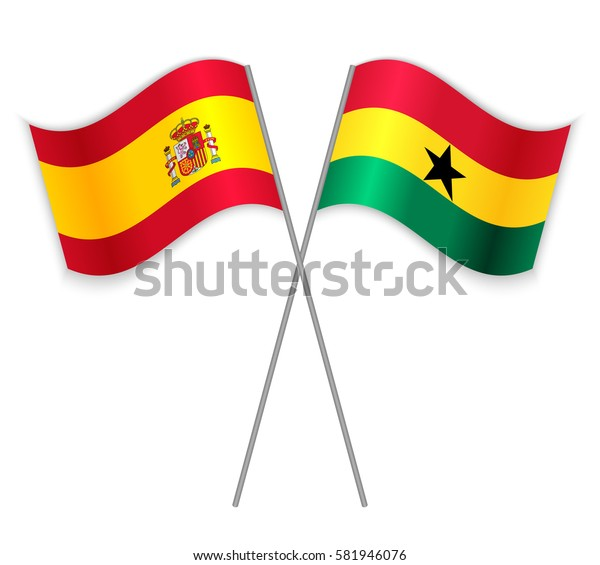 Spanish and Ghanaian crossed flags. Spain combined with Ghana isolated on white. Language learning, international business or travel concept.