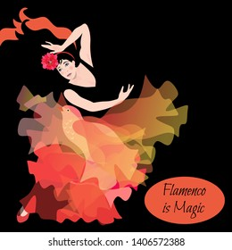 Spanish girl dances a flamenco with transculent manton in shape of flying bird on black background.