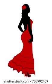 Spanish girl in flamenco red dress