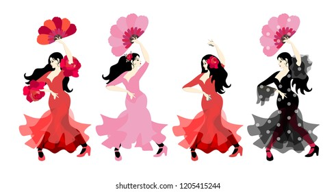 Spanish girls in colorful long dresses with castanets and fans dancing flamenco in their hands isolated on white background in vector. Great collection.