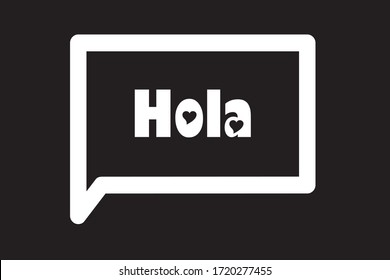 Spanish greeting Hola meaning hello in english.