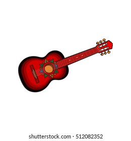 Spanish guitar with Mexican, Aztec ornaments, sketch style vector illustration isolated on white background. Hand drawn Spanish guitar, symbol of Mexical culture