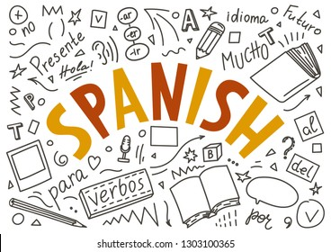 """Spanish. Hand drawn doodles and lettering on white background. """"Presente, hola, idioma, Futuro, mucho, para, verbos, no"""". Translate: """"Present, hello, language, Future, a lot, for, verbs, no""""."""