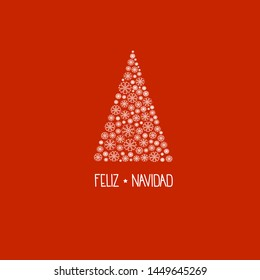 Spanish hand lettering Feliz Navidad Merry Christmas on greeting card with fir tree made of white snow flakes on red background. Minimalist retro vintage style template for holiday poster  invitation