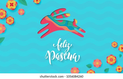 Spanish Happy Easter greeting card of bunny paper cut for Feliz Pascua holiday design. Vector spring flowers pattern on floral background for Easter Egg Hunt cartoon poster