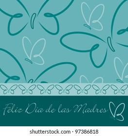 Spanish Happy Mother's Day butterfly card in vector format.