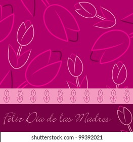 """Spanish """"Happy Mother's Day"""" tulip card in vector format."""