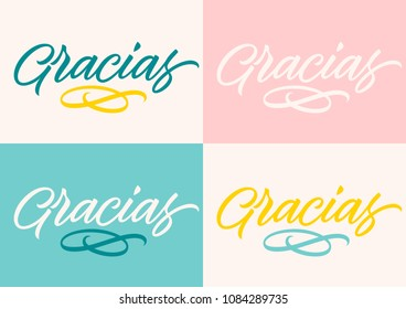 spanish inscription thank you, calligraphy, handwritten text, lettering, set of cards