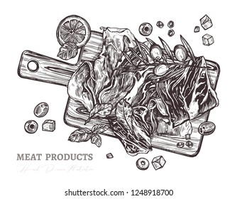 Spanish jamon or parma ham on wooden cutting board top view in vector hand drawn style. Slices of dry cured meat sketch illustration with olive, tomatos, salad