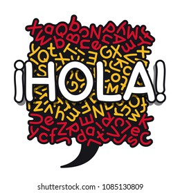 Spanish language learning banner with hand drawn of Hola, translation of Hello phrase in a colors of the Spanish flag mixed letters speech bubble background. Clipping paths included.