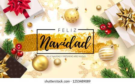 Spanish lettering Feliz Navidad - Happy New Year and Merry Christmas. Christmas greeting background with gifts box and shining golden and silver snowflakes, ball, fir tree . Vector Illustration EPS 10