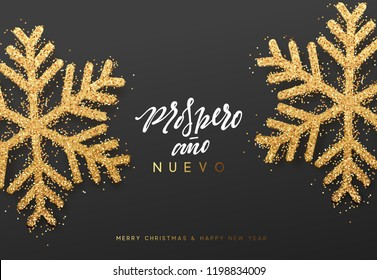 Spanish lettering Feliz Navidad y Prospero ano Nuevo. Merry Christmas and Happy New Year background with realistic bright snowflakes