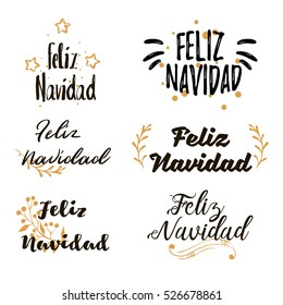 Spanish Merry Christmas Feliz Navidad Festive calligraphic lettering Set. Collections of beautiful Merry Christmas title for greeting card, flyer, web, banner. Christmas typography set. Vector