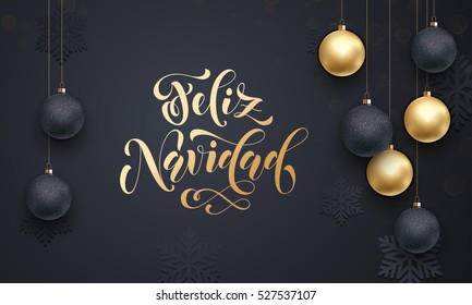 Spanish Merry Christmas gold calligraphy lettering.