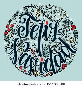 Spanish Merry Christmas greeting card on white background. Feliz Navidad vector illustration, hand drawn lettering