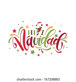 Spanish Merry Christmas greeting card on white background. Feliz Navidad vector illustration, hand drawn lettering