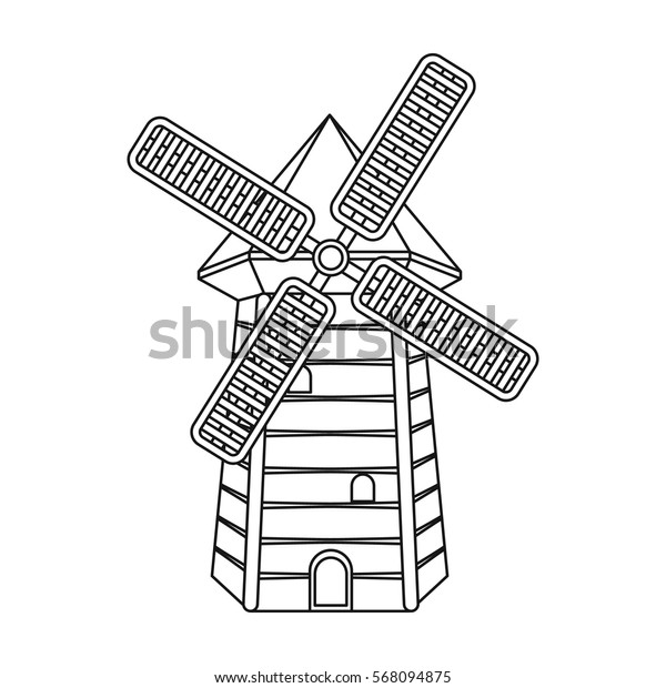 Spanish mill icon in outline style isolated on white background. Spain country symbol stock vector illustration.
