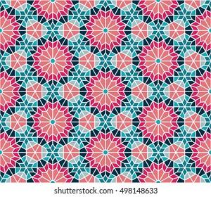 Spanish / Moroccan design. Editable vector seamless pattern repeat.
