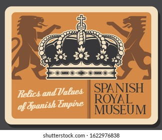 Spanish museum, relics and values of Spain empire. Vector victorian emblem with lion, heraldic style kings crown with gemstones. Coat of arms of Spain, vintage lion animal silhouettes